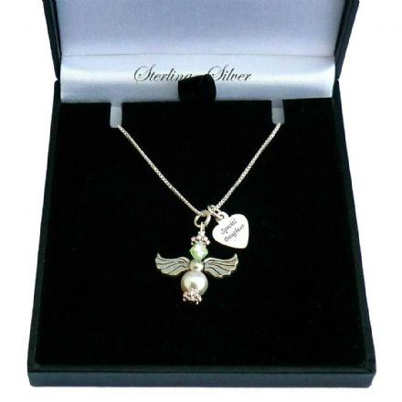 Sterling Silver Angel Necklace with Birthstone & Engraving
